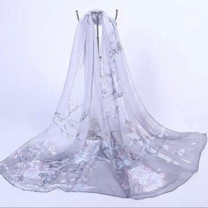"Accessories - Light Gray Chiffon Scarf/Shawl,  60""x20"""